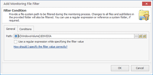 Configuring a Monitoring File Filter condition