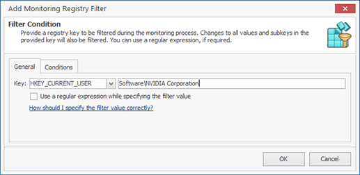 Configuring a Monitoring Registry Filter condition