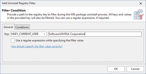 Configuring an Uninstall Registry Filter condition