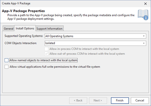 Configuring the Install Options