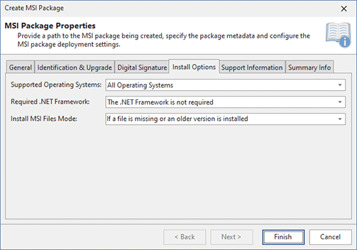 Configuring Install Options