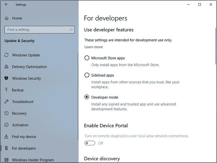 Enabling the Developer mode
