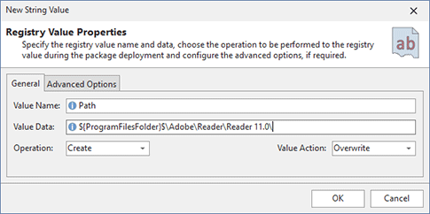 Adding a registry value modification to a project