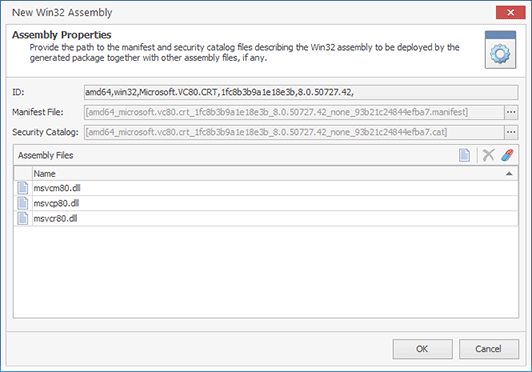 Configuring a Win32 Assembly