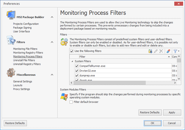 Configuring Monitoring Process Filters