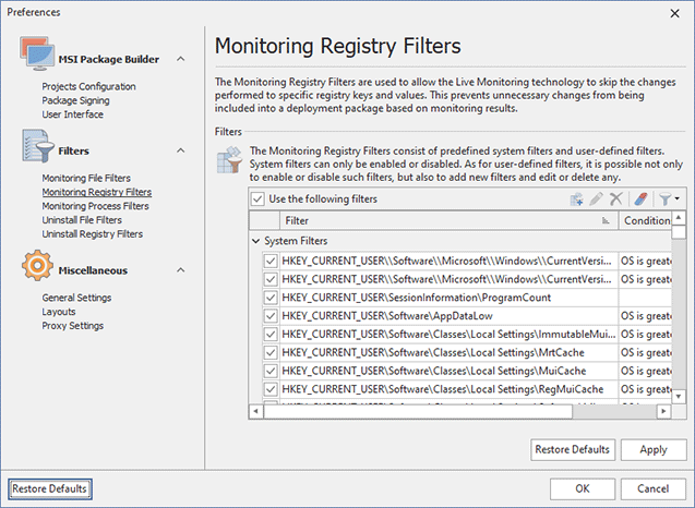 Configuring Monitoring Registry Filters