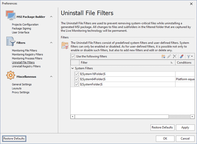 Configuring Uninstall File Filters