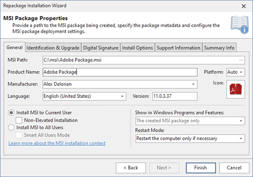 Configuring MSI package