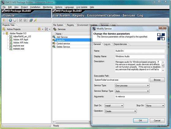 Improved Service configuration dialog