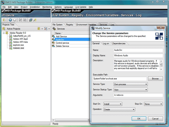 Improved Service configuration dialog