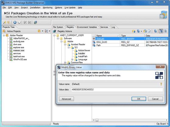 Default registry value editing