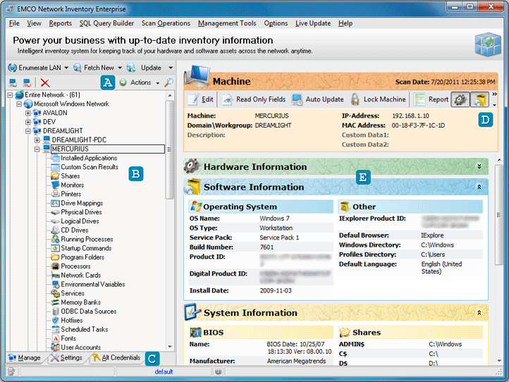 The main application screen