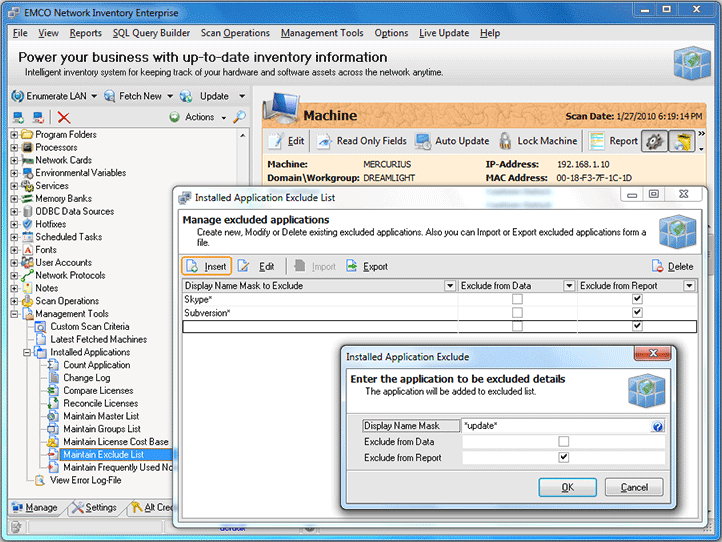 Installed Applications Exclude List dialog