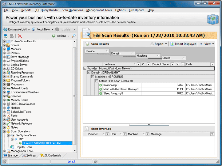 File System Scan results