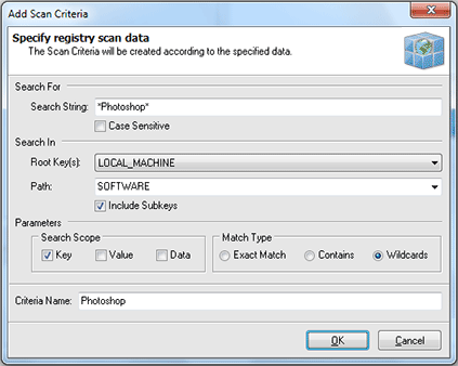 Specifying Registry Scan criteria