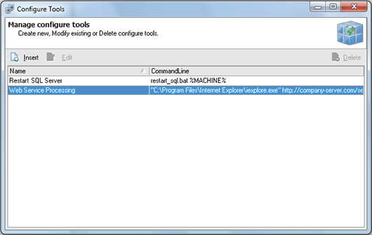 The Configure Tools dialog with a list of defined tools