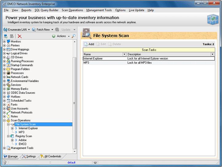 File system scan tasks list
