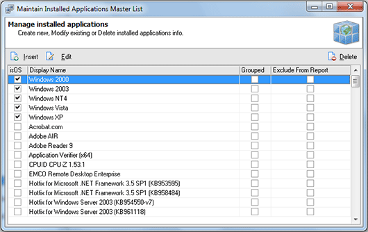 The Maintain Installed Applications Master List dialog