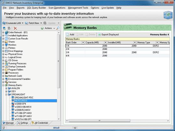 Extended memory banks info