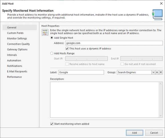 Host configuration dialog