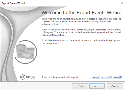 The Export Events Wizard welcome page