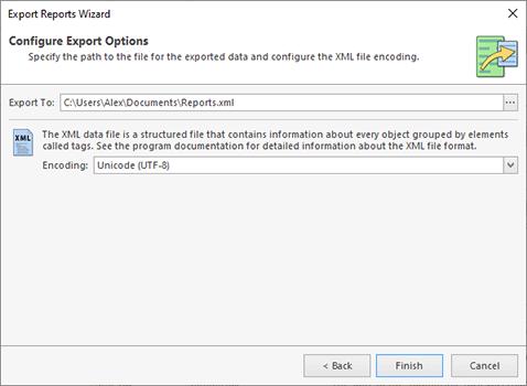 Configuring export options