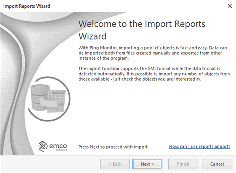 The Import Reports Wizard welcome page