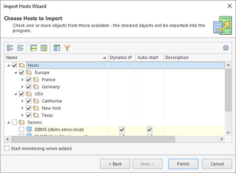 Choosing the hosts to import