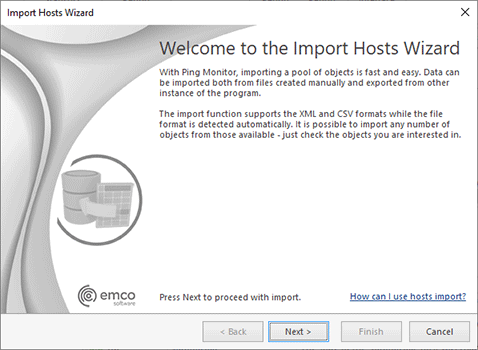 The Import Hosts Wizard welcome page
