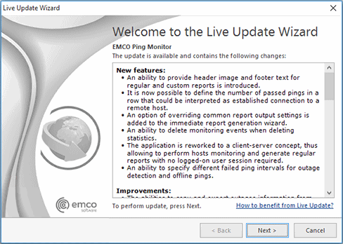 The Live Update Wizard welcome page