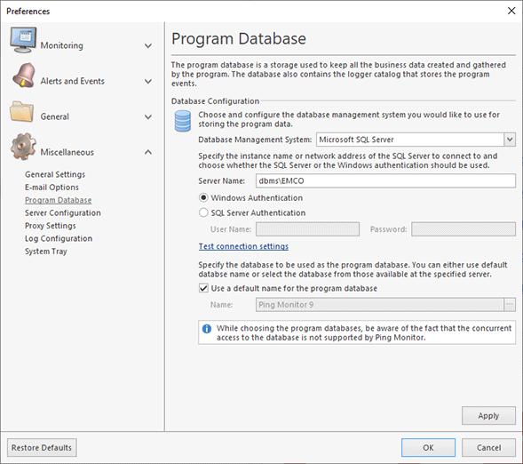 Configuring the Microsoft SQL Server database
