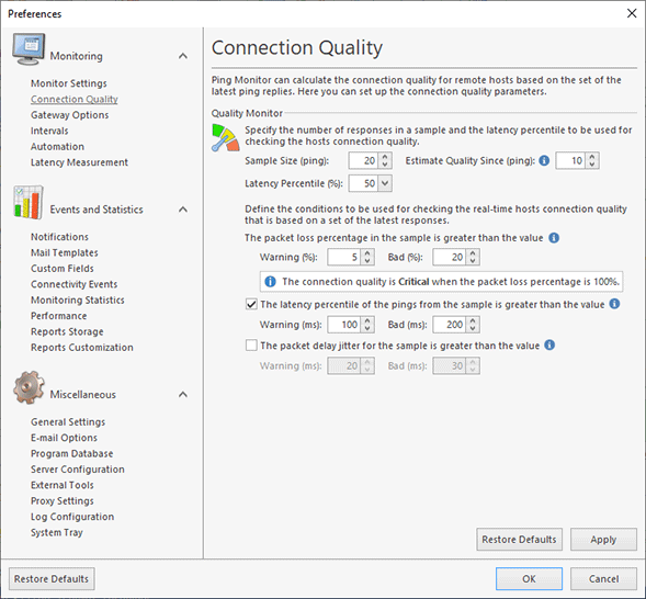 Specifying connection quality monitoring configuration