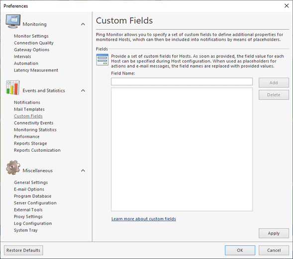 Providing custom fields