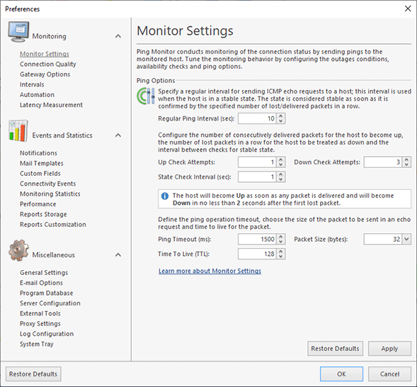 Configuring the Monitor Settings