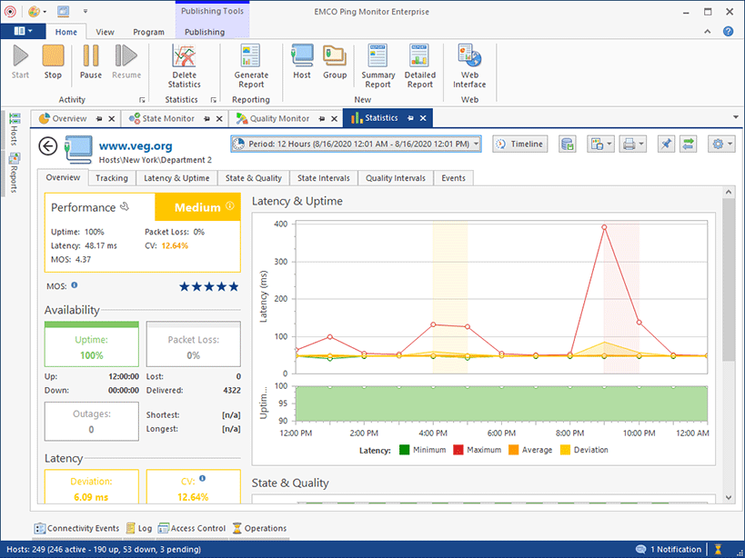 The detailed statistics view for a single host with the Overview page selected