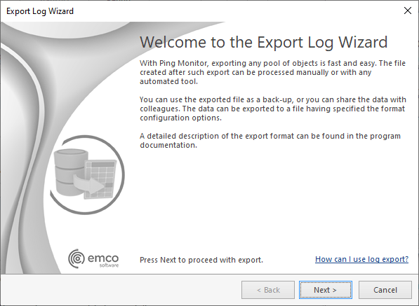 The Export Log Wizard welcome page