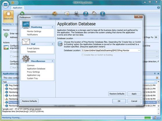 Configurable database location
