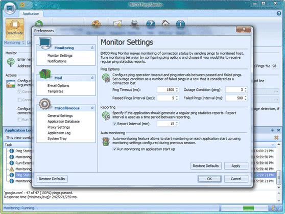 Auto-monitoring option