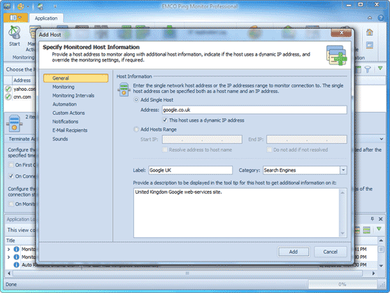 New Add Host dialog