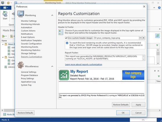 Customizable headers and footers in reports