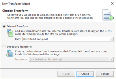 Providing a transform to apply to the installation