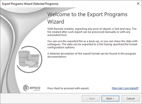 The Export ProgramsWizard welcome page
