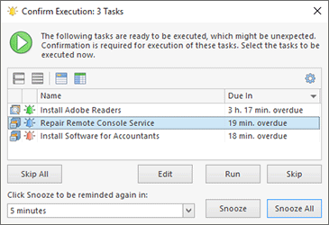 The Confirm Execution dialog
