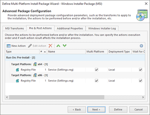 Configuring Pre & Post Actions
