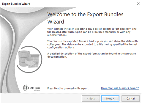 The Export Bundles wizard welcome page