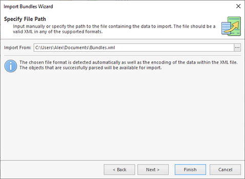 Choosing the import source file