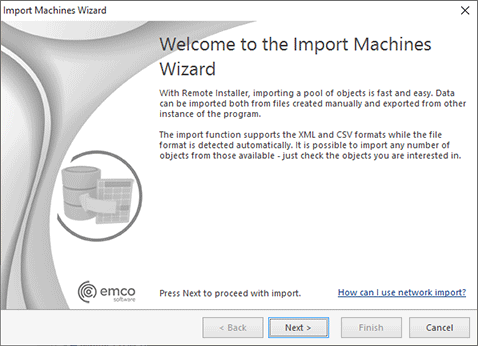 The Import Machines Wizard welcome page
