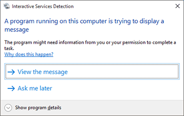 Interactive Services Detection notification