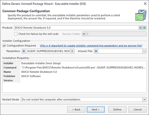 Executable Installer Configuration (Chosen from Inventory)
