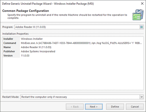 Windows Installer Package Configuration (Chosen from Inventory)